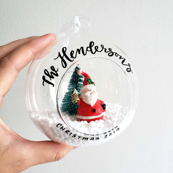 "4"" Glass Santa Ornament"