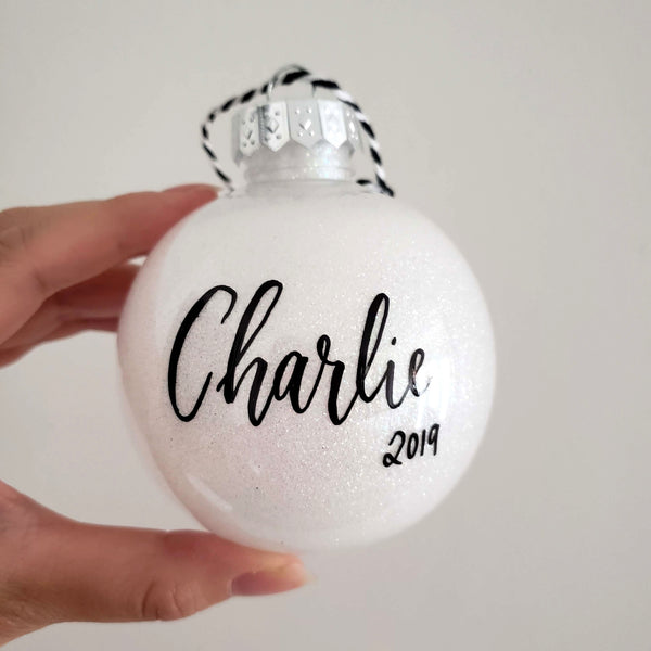 "3.15"" White Glitter Ornament"