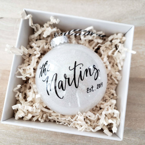 White Newlywed Christmas Ornament