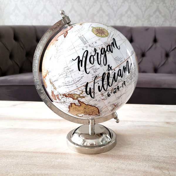 wedding globe with calligraphy