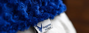 Soothing blue Huggaroo weighted blanket close up photo