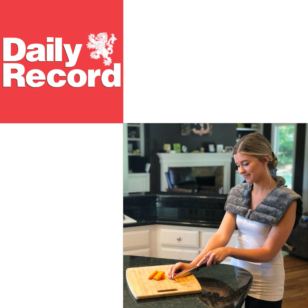 Huggaroo Embrace weighted heating pad feature in the Daily Record