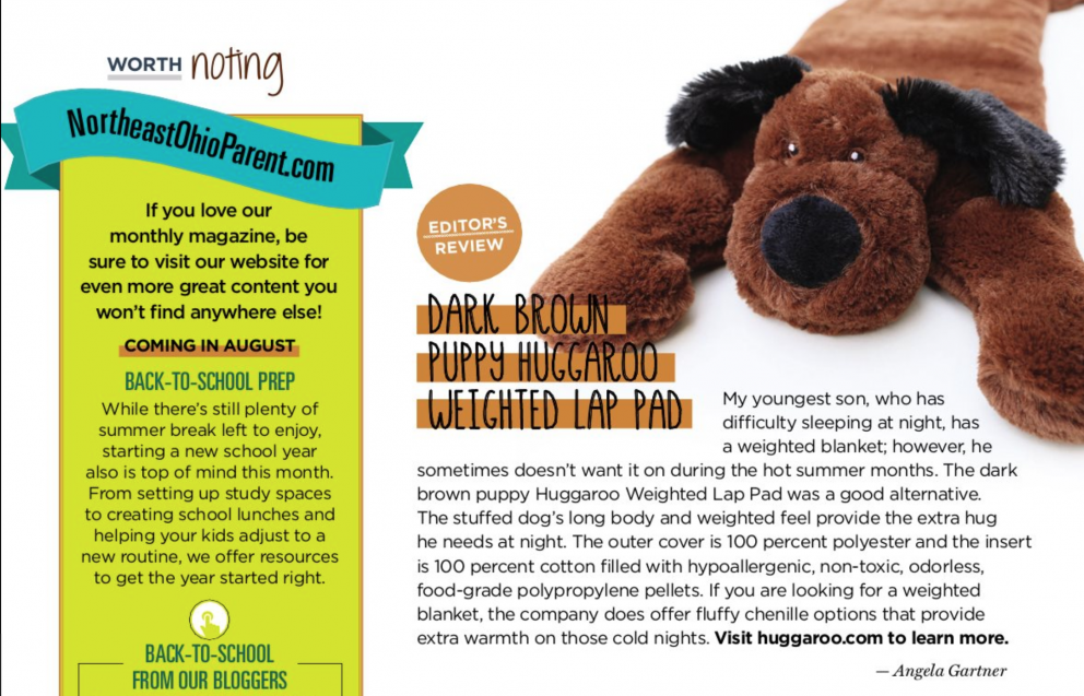 huggaroo weighted lap pad magazine feature