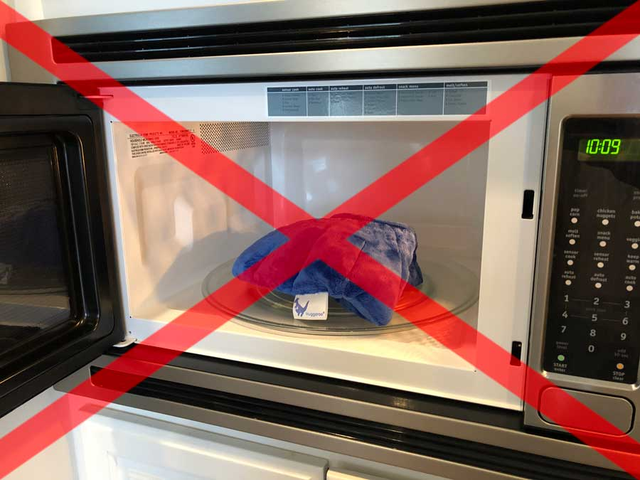 never place your huggaroo microwavable wrap directly on your microwave carousel