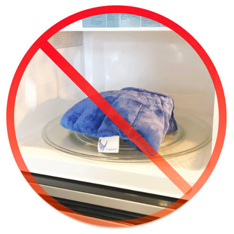 never place your huggaroo microwavable heating pad directly inside your microwave