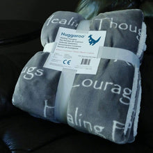 Load image into Gallery viewer, NEW - Huggaroo Healing Thoughts Sherpa Blanket, 60 x 50 inch, Gray HFSB1HTBG 855448007391
