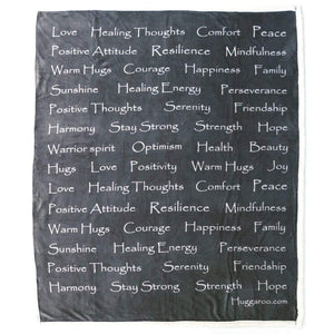 NEW - Huggaroo Healing Thoughts Sherpa Blanket, 60 x 50 inch, Gray HFSB1HTBG 855448007391
