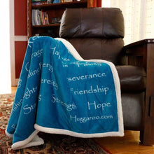 Load image into Gallery viewer, NEW - Huggaroo Healing Thoughts Sherpa Blanket, 60 x 50 inch, Teal HFSB1HTBT 855448007407