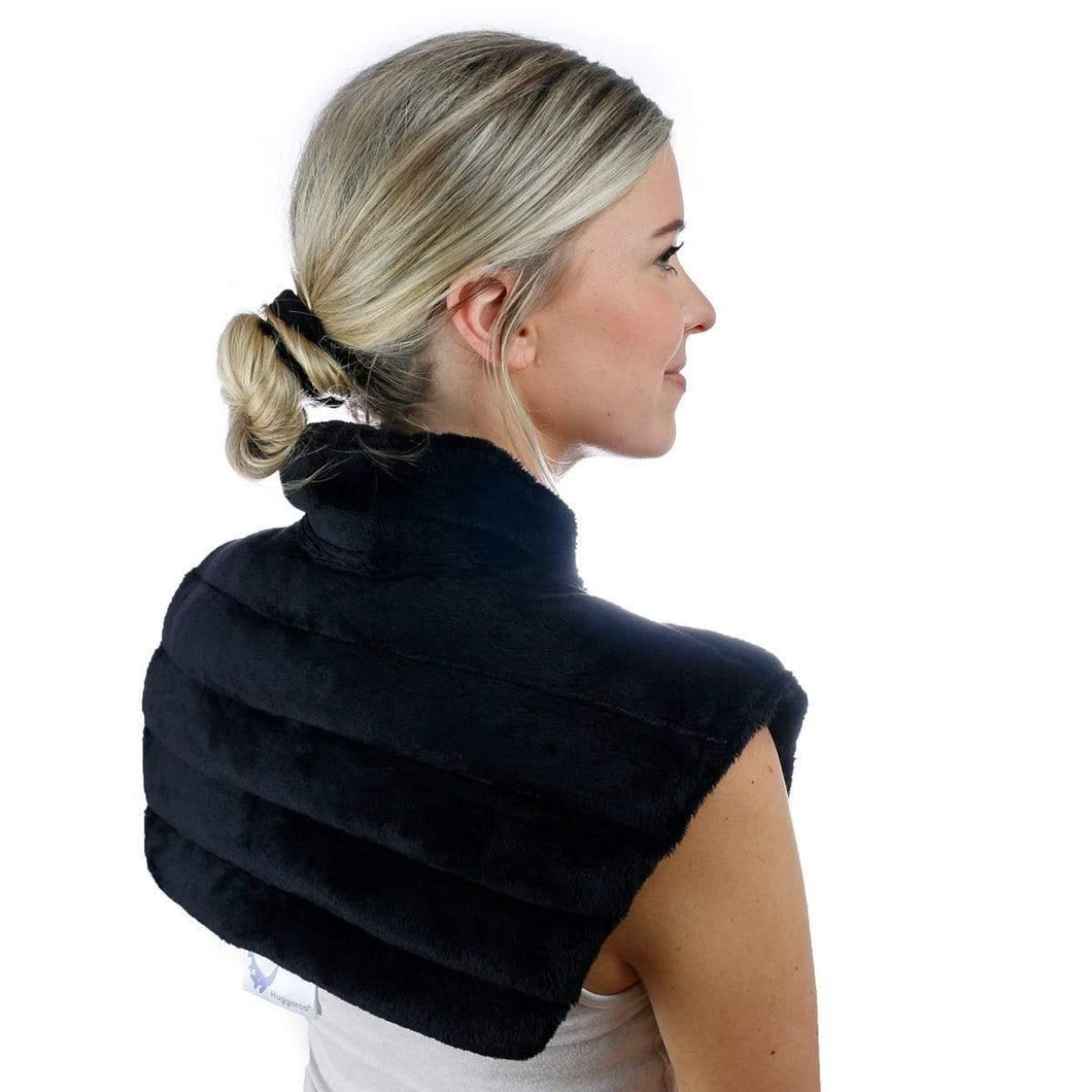 Huggaroo Neck Wrap Microwavable Heat Pad - Weighted, Unscented HNWV2BLACK 855448007285
