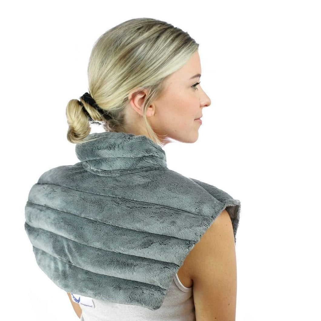 Huggaroo Neck Wrap Microwavable Heat Pad - Weighted, Lavender, Grey HNWV2GREY 855448007292