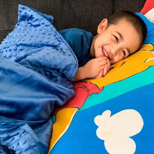 Huggaroo Weighted Blanket for Kids - 7 lb, 36 x 48 inches, Blue HWB7MRB 855448007056