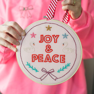 Peace & Joy Embroidery Hoop Kit