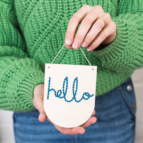 Natural Wood Hello Mini Embroidery Board Kit