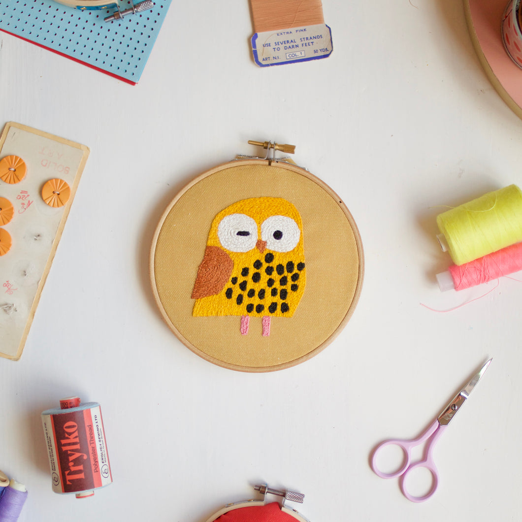 Owl Embroidery Hoop Kit