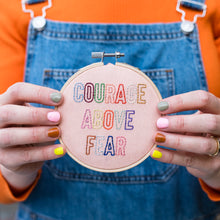 Load image into Gallery viewer, Courage Above Fear Mini Embroidery Hoop Kit
