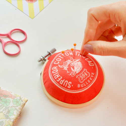 Pin Cushion with Vintage Haberdashery Design