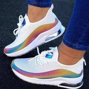 Colorblock Lace-up Breathable Sneakers