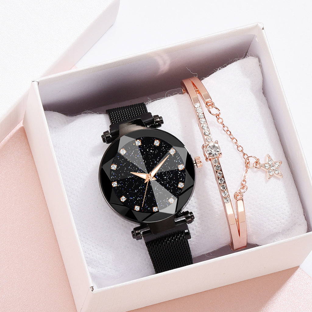 Starry Sky Magnetic Buckle Dial Diamond Cutting Mesh Band Watch