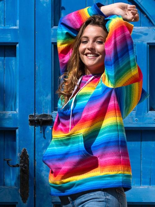 ★HOT SALE★Rainbow Stripe Long Sleeve Hoodie