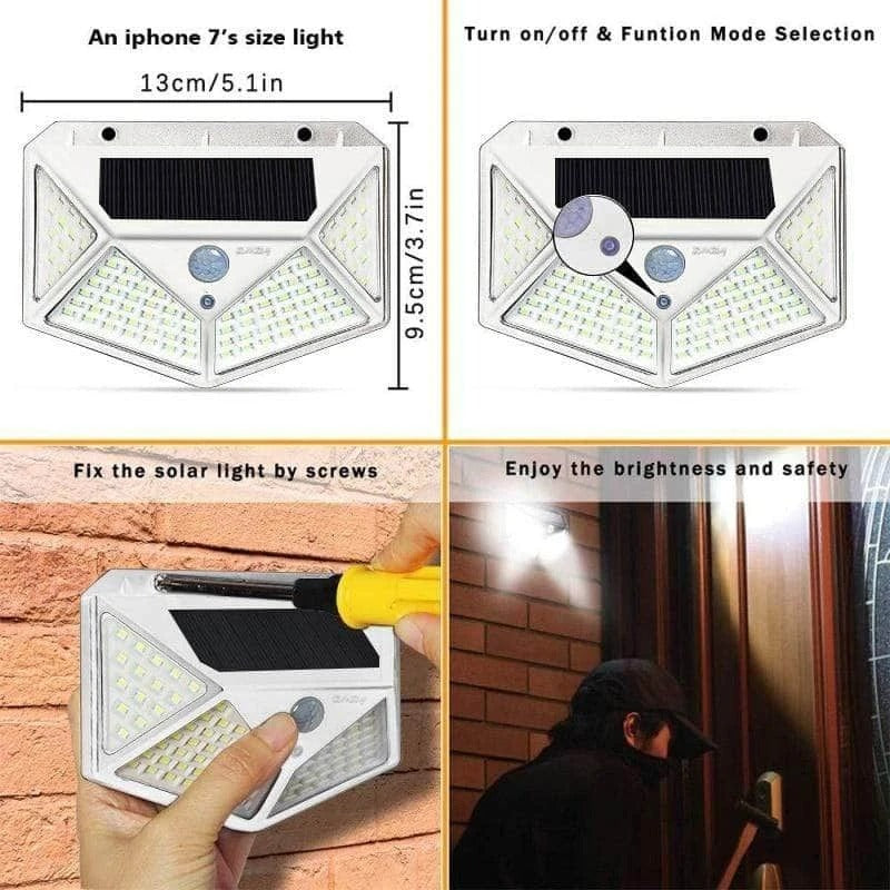 SOLITE™ HIGH POWER 100 LED FOUR SIDED SOLAR POWER SECURITY LAMP