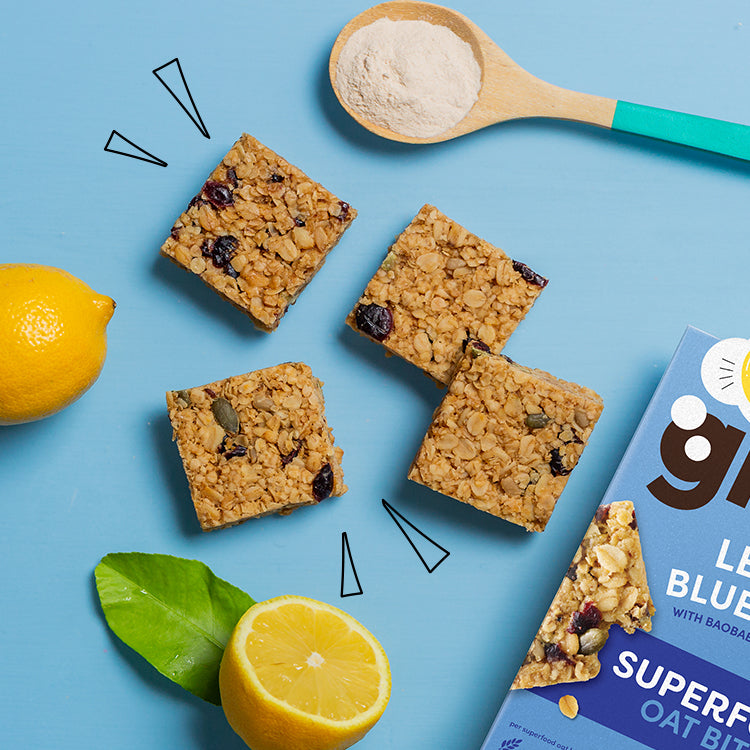 lemon blueberry superfood bites with baobab and oats
