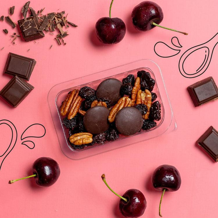 our version of dark chocolate cherry tart multipack