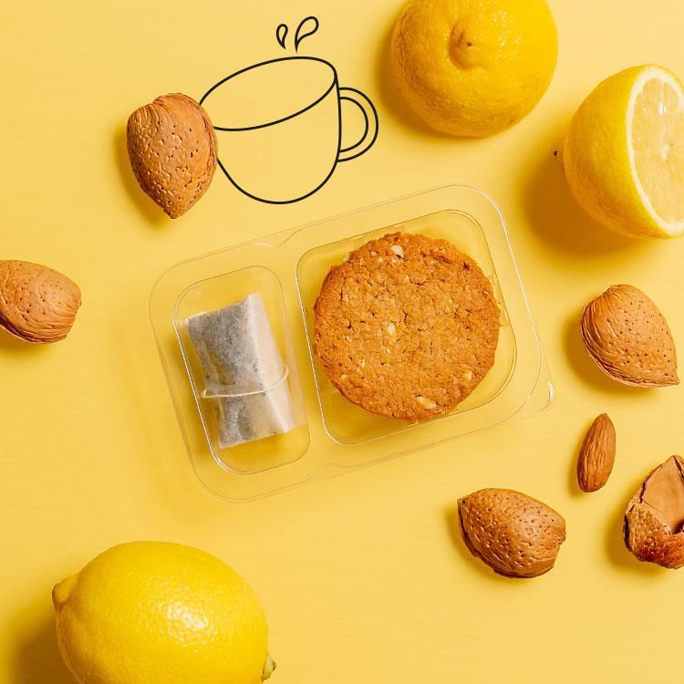 lemon and almond cookies and tea multipack