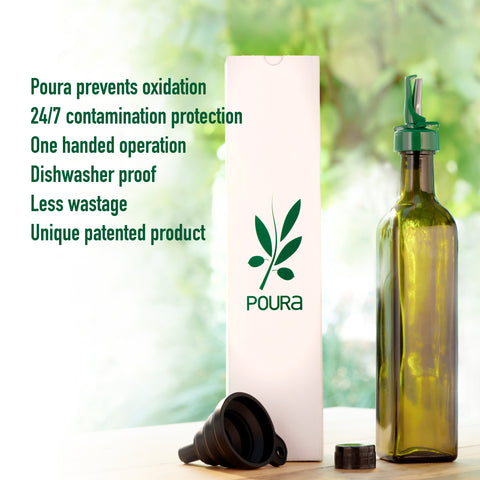 Poura Glass Olive Oil Bottle With Oil Spout