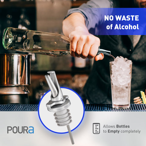 Poura Liquor Bottle Pourers (Silver)