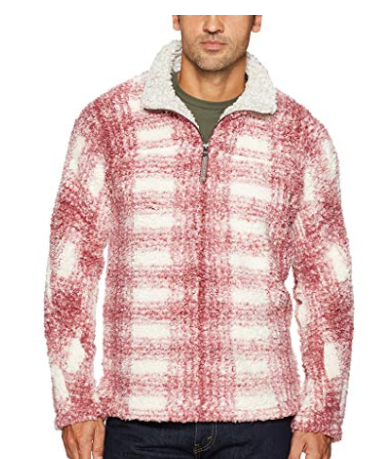 True Grit Men's Frosty Tipped Pile 1/4 Zip Pullover, Vintage Wine Plaid, L