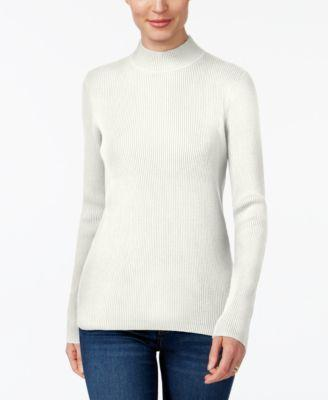 Karen Scott Cotton Ribbed Mock-Neck Sweater, Choose Sz/Color