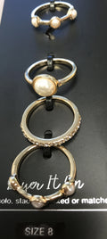 I.n.c. Gold-Tone 4-Pc. Set Pave & Imitation Pearl Stackable Rings