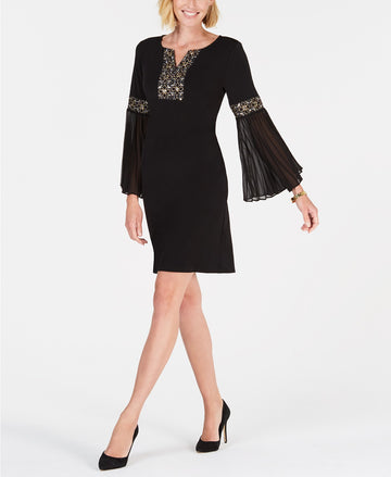 Jm Collection Beaded Bell-Sleeve Dress Size M