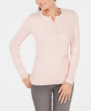 Karen Scott Cotton Cable-Knit Henley Sweater size medium
