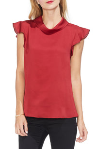 Vince Camuto Mock-Neck Ruffled Sleeve Top Size Large