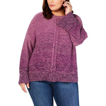 Style and Co Plus Size Braided-Trim Marled Sweater Various Sizes