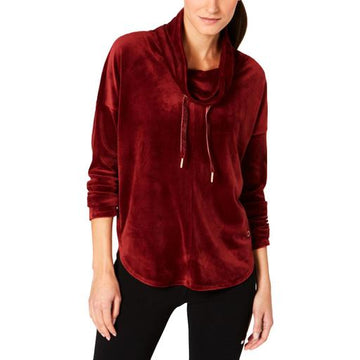 Calvin Klein Velour Cowl Neck Drawstring Performance Sweatshirt,Choose color & Size
