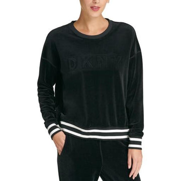 DKNY Sport Boxy Fit Velour Long Sleeve Raised Logo Pullover Sweatshirt,Various