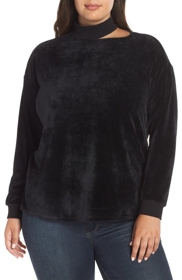 Plus Size Womens Vince Camuto Cutout Neck Velour Top, Size 2X - Black