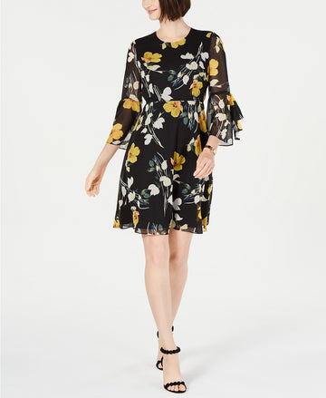 INC International Concepts Floral-Print Bell-Sleeve Dress.