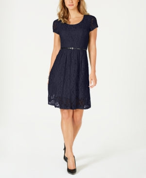 Ny Collection Petite Lace Fit & Flare Dress.