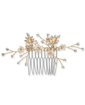 Inc Gold-Tone Crystal and Imitation Pearl Small Hair Comb