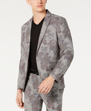 INC Mens Glen Plaid Slim Fit One-Button Blazer, Various Styles