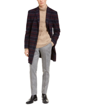 Tommy Hilfiger Modern-Fit Stretch Flex Plaid Addison Overcoat, Choose Sz/Color