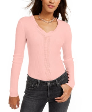 Hooked up by Iot Juniors Ruffled V-Neck Sweater, Choose Sz/Color