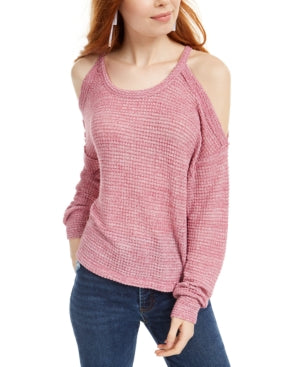 Freshman Juniors Waffle-Knit Cold-Shoulder Top, Choose Sz/Color
