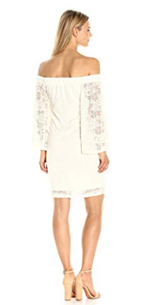 Jack by BB Dakota Womens Daniela Stretch Lace Off The Shoulder Dress, Ivory, X-Small