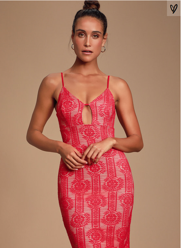 Lulus Avianna Red and Nude Lace Bodycon Dress