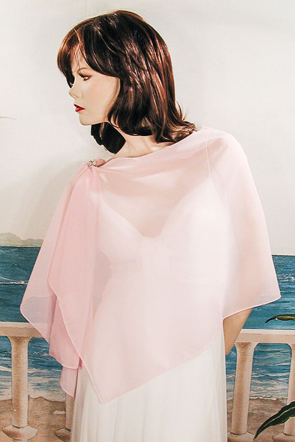 Long Sheer Chiffon Plain Shawl Wrap Scarf Hijab, 20x68/Pink