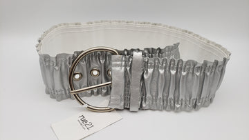 New/Tags Rue 21 Silver Metallic Stretch Belt Juniors S/M FREE SH